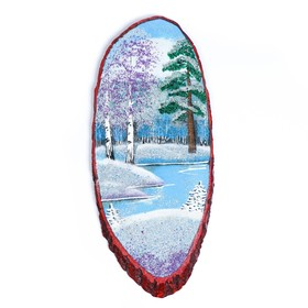 "The painting ""Winter"" in the form of cut wood 60 cm, stone chippings"