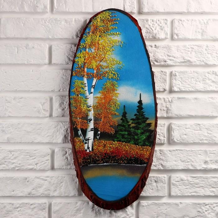 """Панно на спиле """"Осень"""", 50 см,  каменная крошка, вертикальное"""