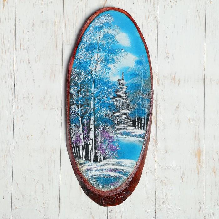 "Картина ""Зима"" на срезе дерева 50 х 23 х 2 см, каменная крошка"