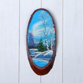 """Картина """"Зима"""" на срезе дерева, каменная крошка"""