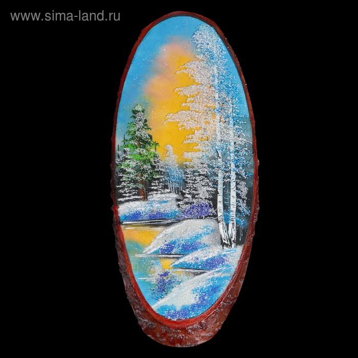"Картина ""Зима"" в форме среза дерева 70 см, каменная крошка"