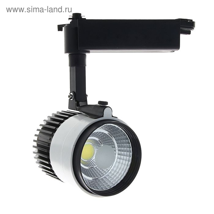 Трековый светильник LED, 20 W, 1600 Lm, 6400 K, холодный свет, SL-2002WB, корпус БЕЛО-ЧЕРНЫЙ