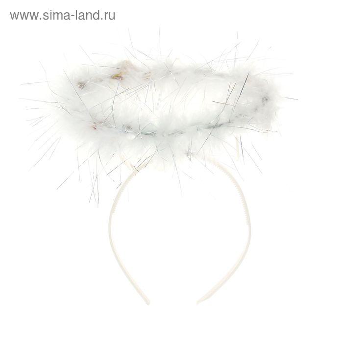 """Карнавальный ободок """"Нимб"""" световой, с пухом"""