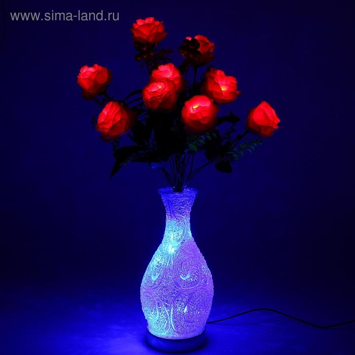 "Светодиодная ваза 64х16 см, ""Розы"" 10 LED, от USB и 220V, фиксин, СИНИЙ"