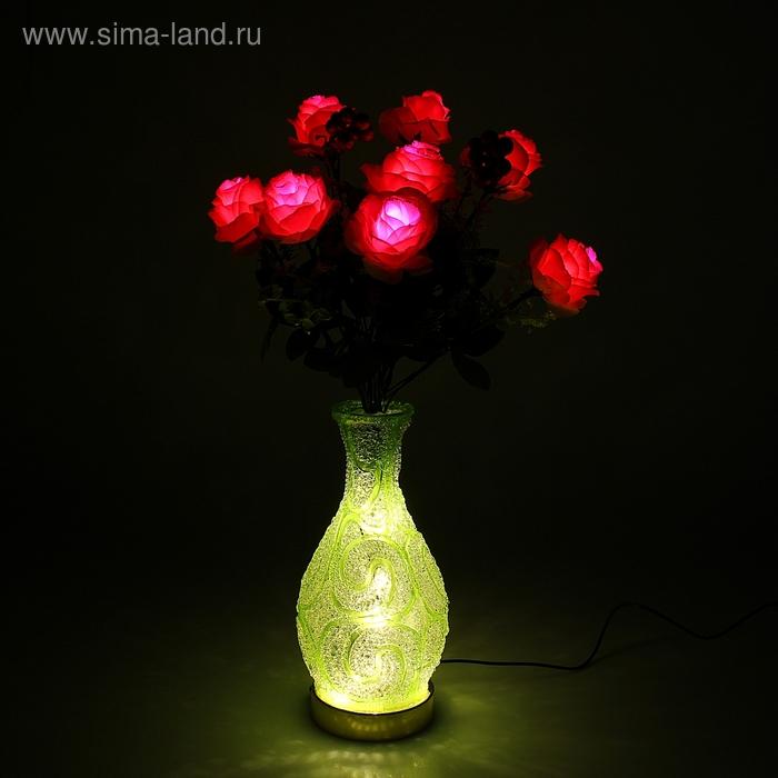 """Светодиодная ваза 64х16 см, """"Розы"""" 10 LED, от USB и 220V, фиксин, ЗЕЛЕНЫЙ микс"""