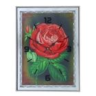 "Настенные часы-картина ""Красный пион"", 41 × 31 см, зеркальная рама"