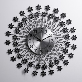"""Часы настенные, серия: Ажур, """"Лучики гнутые с цветочками"""", чёрные, d=60 см"""