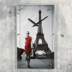 """Часы настенные прямоугольные """"Девушка в красном платье в париже"""", 35х60 см"""
