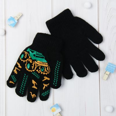 """Перчатки детские """"Тачка"""", размер 16, цвет чёрный 65481"""