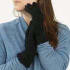 """Перчатки женские """"Косичка"""", размер 18, цвет чёрный 65456"""