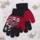 """Перчатки детские """"Бабочка"""", размер 20, цвет бордо/чёрный"""