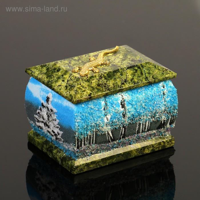 """Шкатулка """"Зима"""", с ящеркой, 6х8 см, каменная крошка, серпент"""