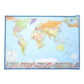 Карта мира политическая, с флагами. Крым в составе РФ. Карта на картоне с ламинацией Ош