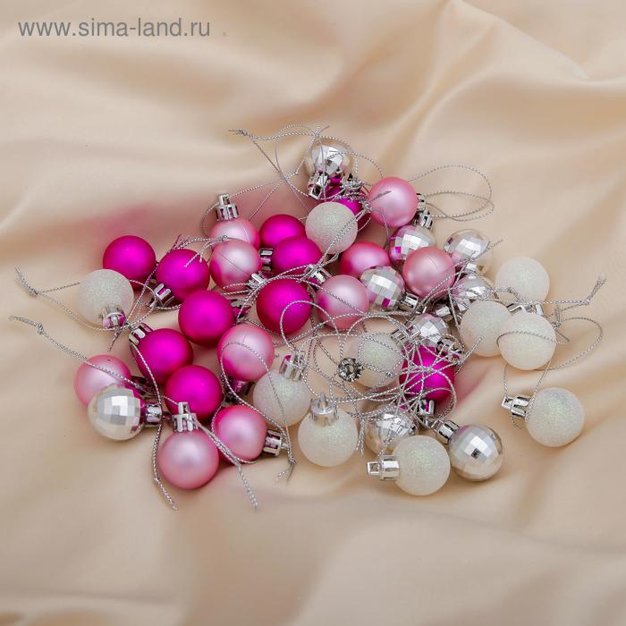 """Новогодние шары """"Малыши"""" бело-малиновые (набор 40 шт.)"""