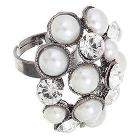 Кольцо 'Жемчужный шик', цвет серебро, безразмерное Ош