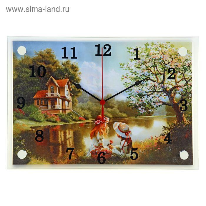 """Часы настенные прямоугольные """"Пара на пикнике у реки напротив дома"""", 25х35 см"""