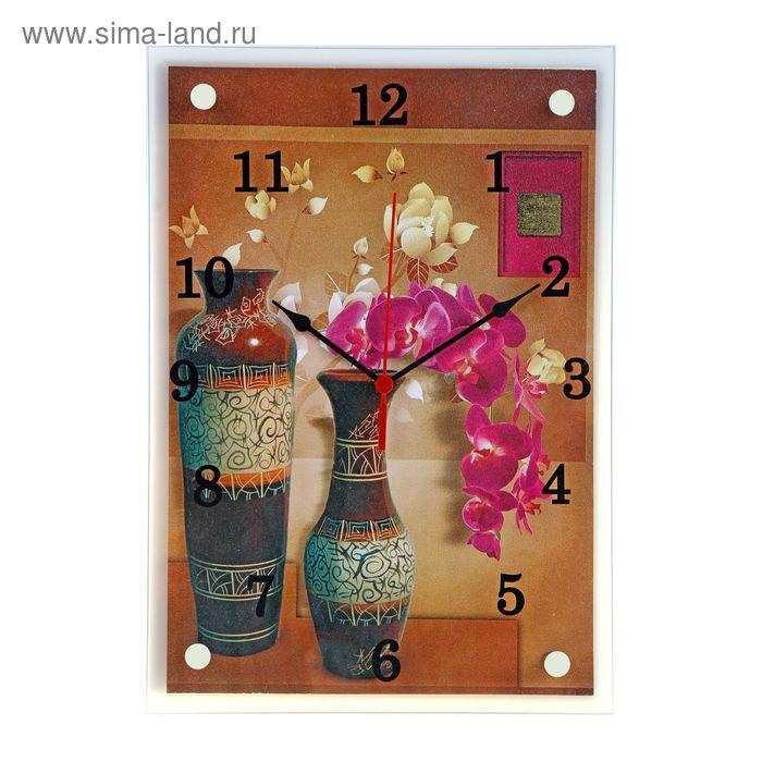 """Часы настенные прямоугольные """"Вазы и цветы"""", 25х35 см микс"""