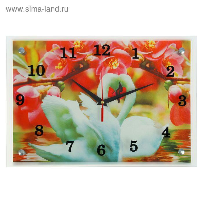 """Часы настенные прямоугольные """"Лебеди под сакурой"""", микс  25х35 см"""