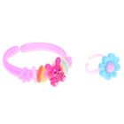 """Набор детский """"Выбражулька"""" 2 предмета: браслет, кольцо, ассорти, цвет МИКС"""