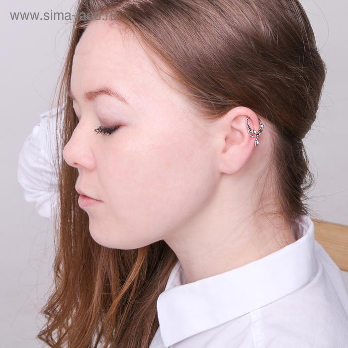 """Серьга """"Каффа"""" цветок, цвет белый в серебре"""