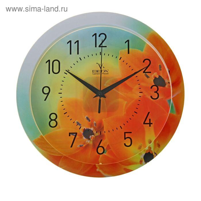 """Часы настенные круглые """"Желтые цветы"""", с нанесение по ободу"""