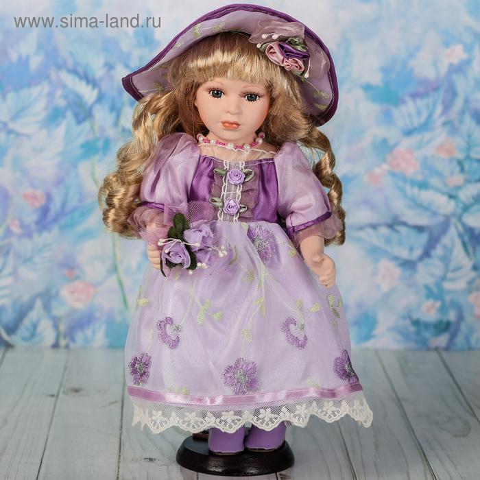 """Кукла коллекционная """"Беата с букетом в фиолетовом платье"""""""