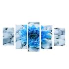 "Модульная картина на подрамнике ""Синий цветок на камнях"", 2 — 43×25, 2 — 58×25, 1 — 72×25, 75×135 см"