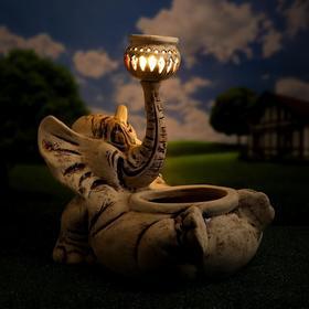 """Садовый светильник-кашпо """"Слон Моня"""", шамот, 15 л, без элемента питания"""
