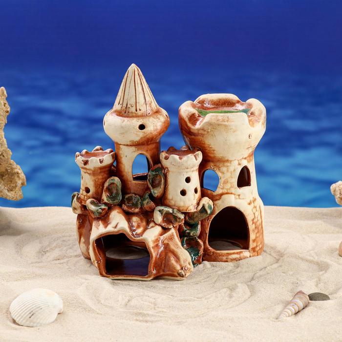 """Декорация для аквариума """"Замок с башней на скале"""" 12 × 19 × 17,5 см"""