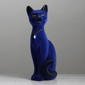 """Копилка """"Кот Кузя"""", покрытие флок, синяя, 28 см"""