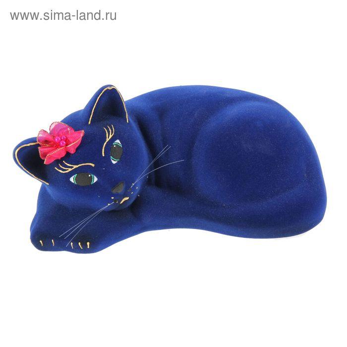 "Копилка ""Кошка Соня"" флок, синяя"
