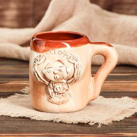 """Кружка для пива """"Бюст"""", шамот, декорированная глиной, 0,5 л"""