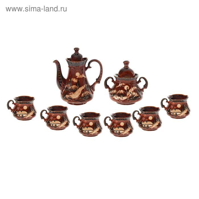 """Чайный набор """"Сонет"""" коричневый, художественная роспись, 8 предметов: чайник 1,5 л, сахарница 0,7 л, кружки 0,45 л"""