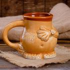 """Кружка для пива """"Пузо"""", шамот, декорированная глиной, 0,5 л"""