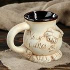 """Кружка для пива """"Пузо"""", под шамот, декорированная глиной, 0.5 л, микс - фото 7328013"""