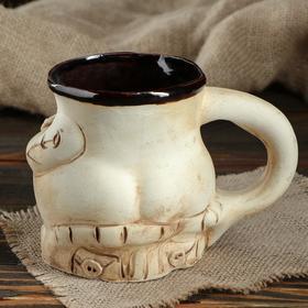 """Кружка для пива """"Пузо"""", под шамот, декорированная глиной, 0.5 л, микс - фото 7328015"""