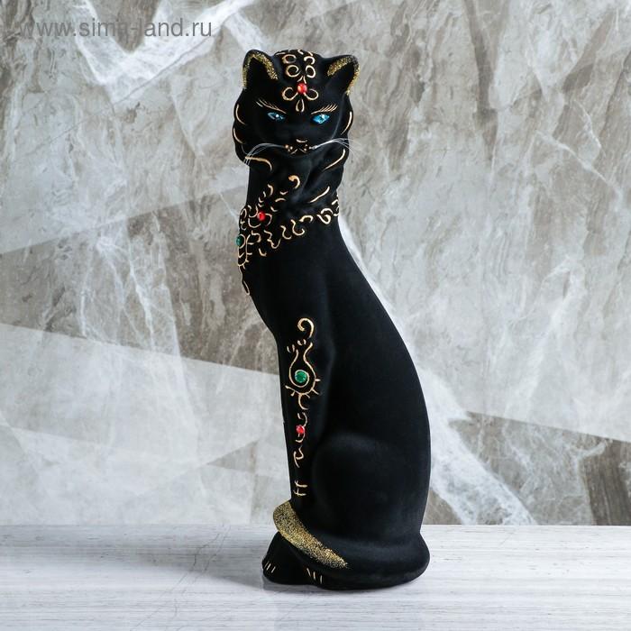 """Копилка """"Кошка с ожерельем"""" флок, чёрная"""