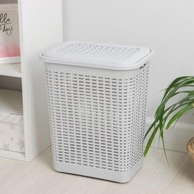 Корзина для белья с крышкой 30 л, 37×26×46,5 см, цвет МИКС