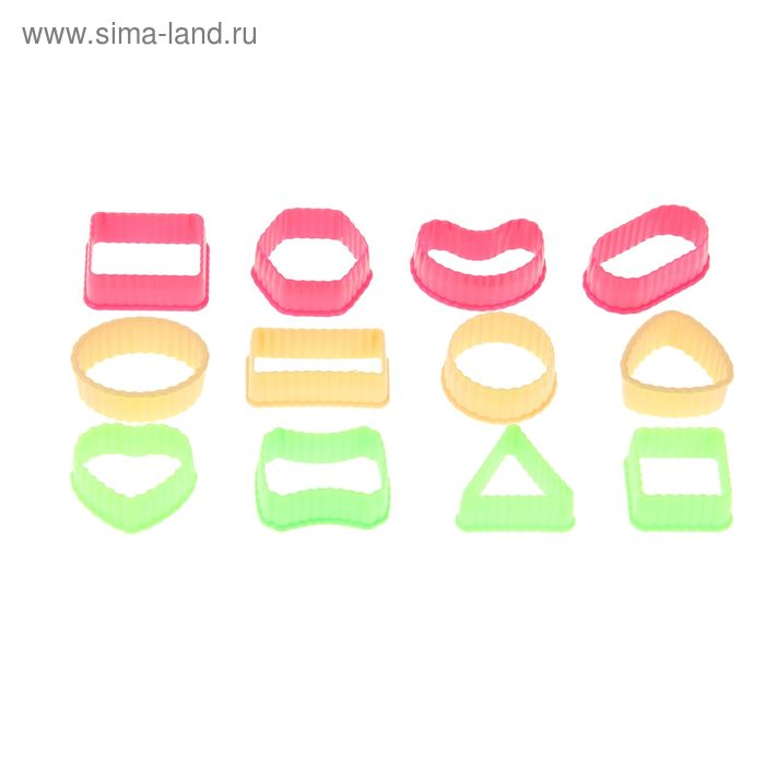 """Набор форм для вырезания печенья 12 шт h=1,8 см """"Геометрия"""", цвета МИКС"""