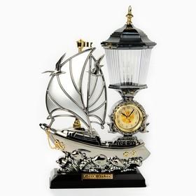 """Часы-светильник """"Эскала"""", настольные, чёрные, 34х25 см"""