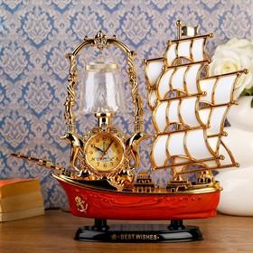 """Часы-светильник """"Парусник"""", настольные, золотые, 32х28 см"""