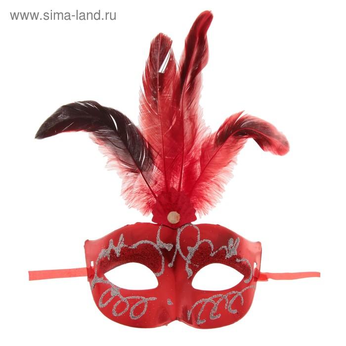 """Карнавальная маска """"Сияние"""" с перьями, цвета МИКС"""