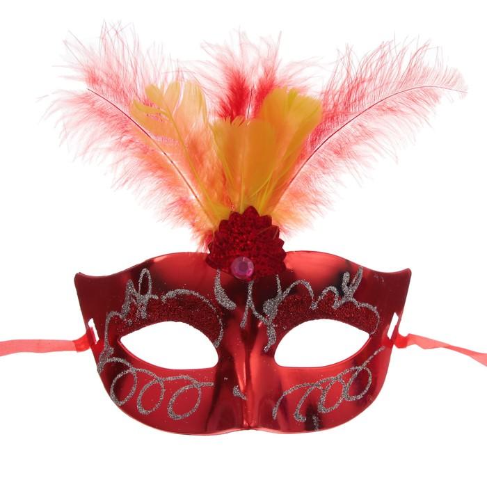 Карнавальная маска «Причуда», с перьями, цвета МИКС - фото 457541