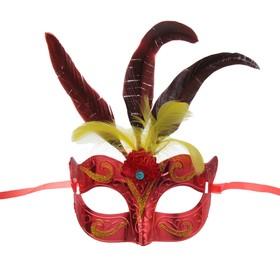 Карнавальная маска «Новинка», с перьями, цвета МИКС