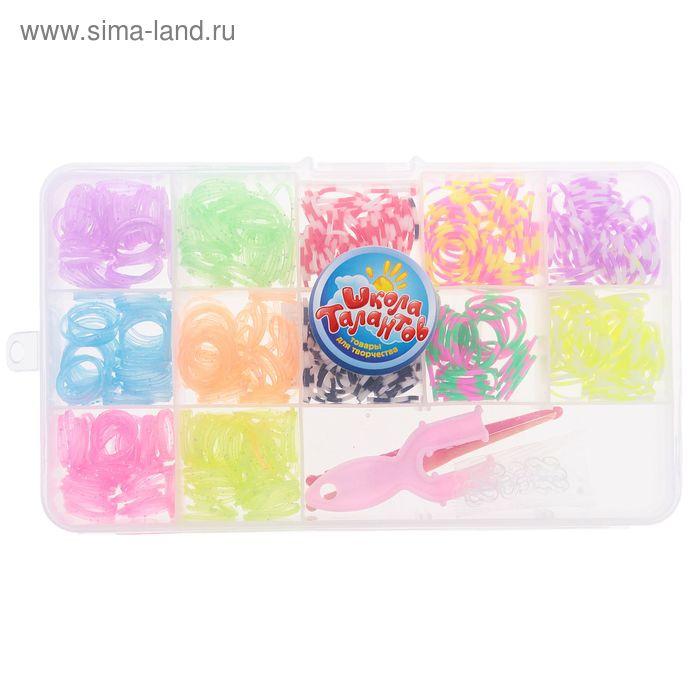 Резиночки для плетения, набор из 12-ти цветов с блестками по 40 шт., пяльцы, 2 крючка, крепления, МИКС