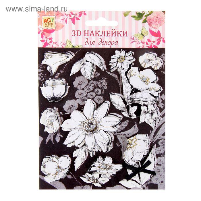 """Наклейка для декора 3D """"Чёрно-белые цветы"""" с клейкой лентой"""