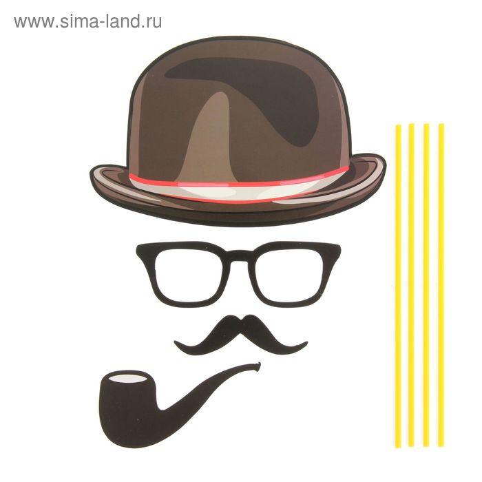 """Карнавальный набор для фотосессии """"Джентльмен"""", 4 предмета: шляпа, очки, усы, трубка"""