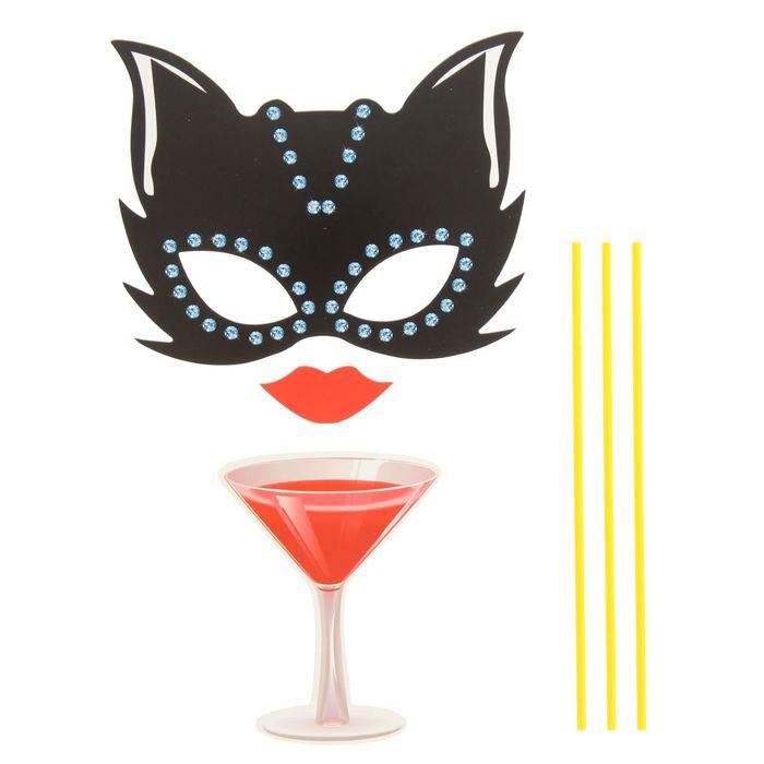 """Карнавальный набор для фотосессии """"Проказница"""", 3 предмета: маска, губы, бокал"""