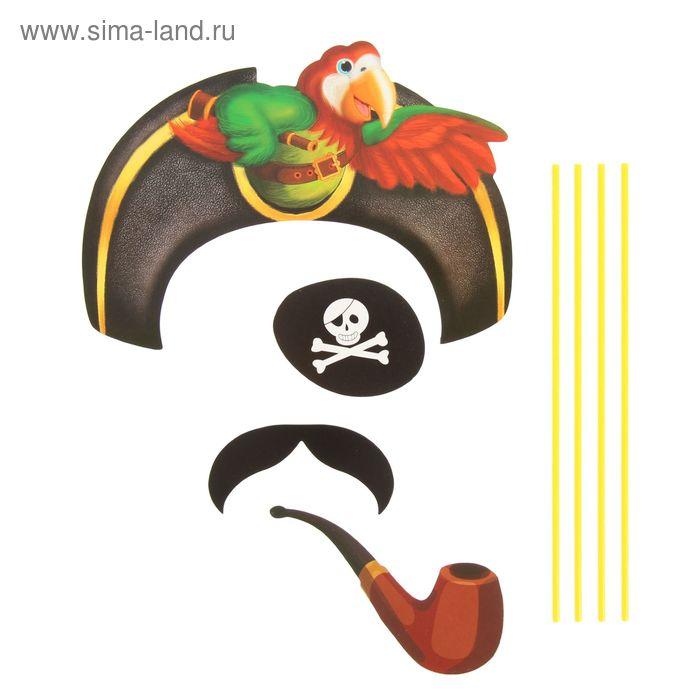 """Карнавальный набор для фотосессии """"Бравый пират"""", 4 предмета: шляпа, наглазник, усы, трубка 109026"""