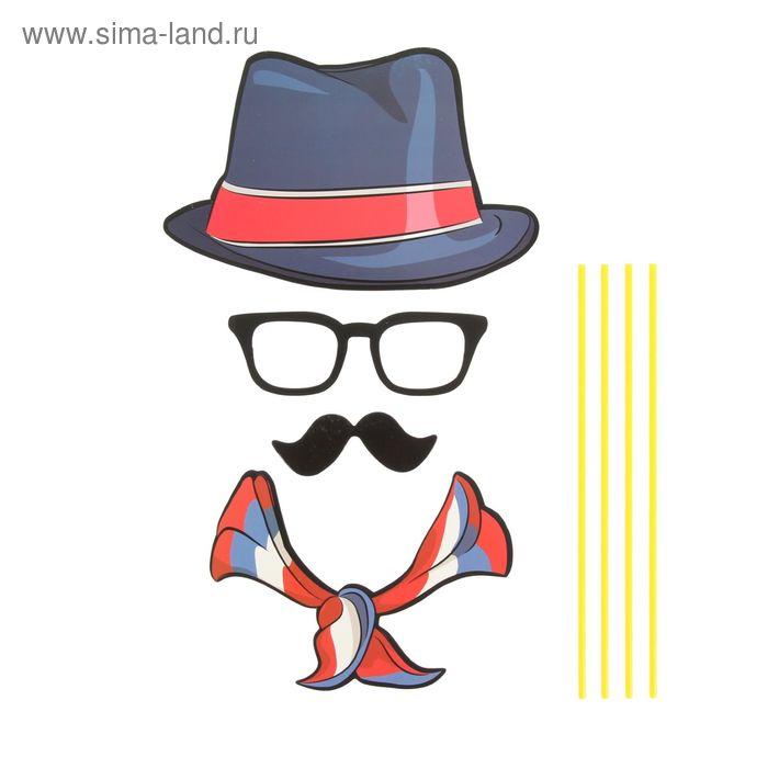 """Карнавальный набор для фотосессии """"Франт"""", 4 предмета: шляпа, очки, усы, шарф"""